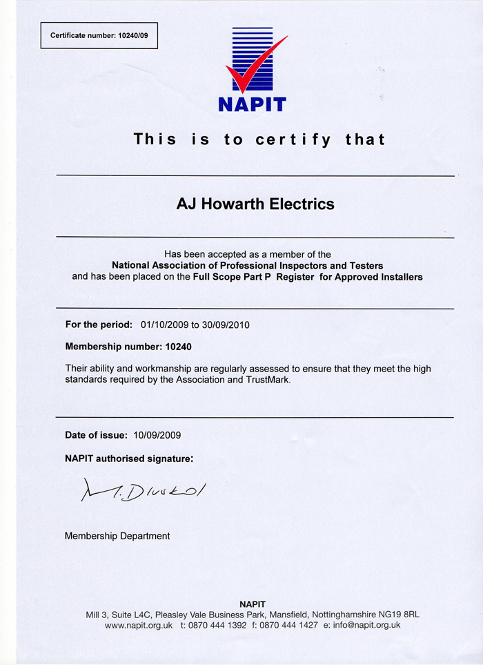 Part P Certificate >> Full And Part Electrical Rewires A J Howarth Electrics